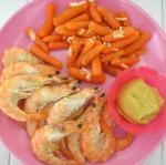 gambas con zanahorias babys