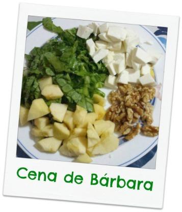 lechuga, queso fresco, manzana y nueces