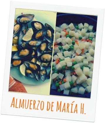 Mejillones, patatas y verduras al vapor