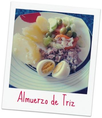 Triz Huevo y patatas hervidas ensalada y atún